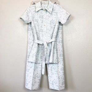 Vintage 70's Gray Floral Matching Pant and Top Set